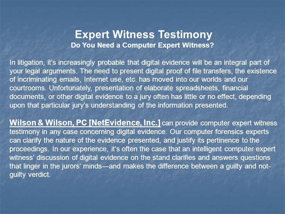 Expert Witness Testimony Do You Need a Computer Expert Witness.
