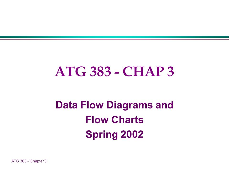 ATG 383 - Chapter 3 ATG 383 - CHAP 3 Data Flow Diagrams and Flow Charts Spring 2002