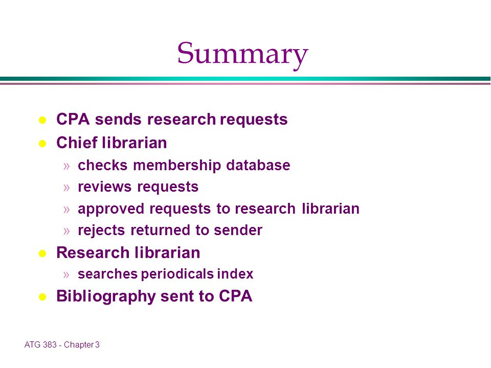 ATG 383 - Chapter 3 Summary l CPA sends research requests l Chief librarian »checks membership database »reviews requests »approved requests to research librarian »rejects returned to sender l Research librarian »searches periodicals index l Bibliography sent to CPA