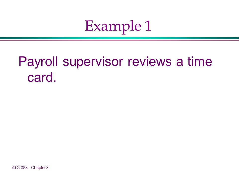 ATG 383 - Chapter 3 Example 1 Payroll supervisor reviews a time card.