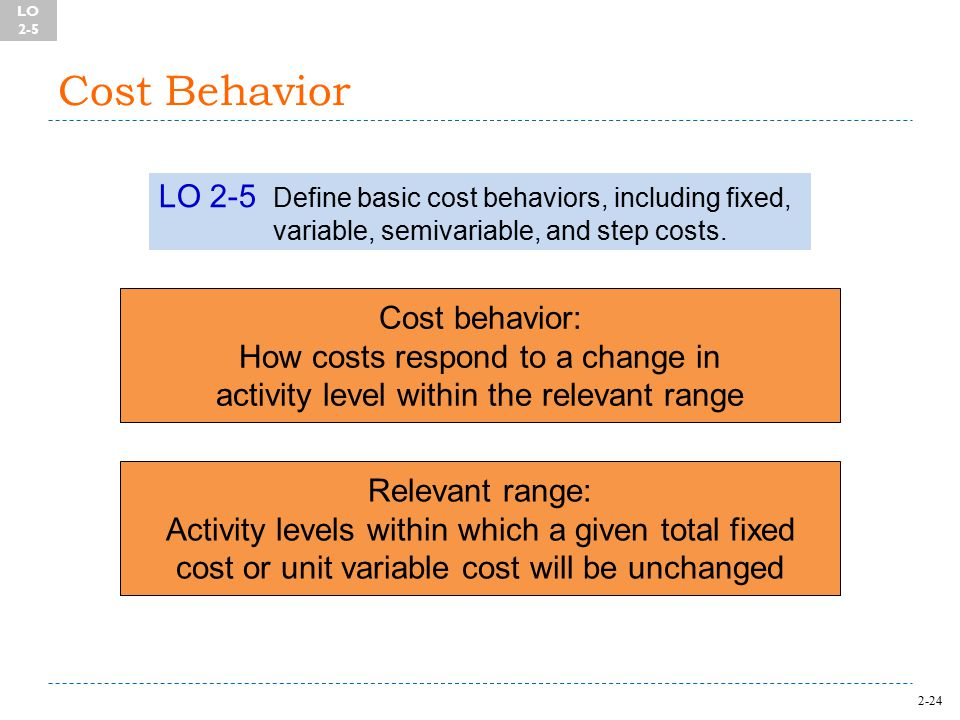 2-24 Cost Behavior LO 2-5 Define basic cost behaviors, including fixed, variable, semivariable, and step costs.