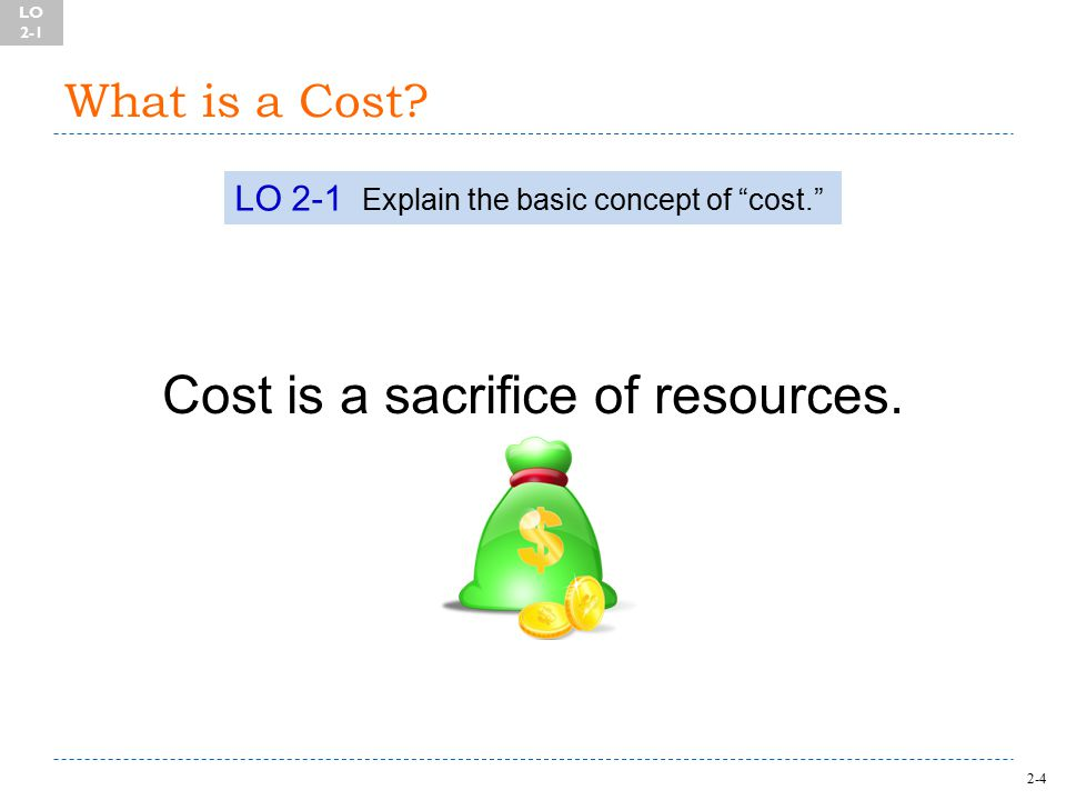2-4 What is a Cost. Cost is a sacrifice of resources.