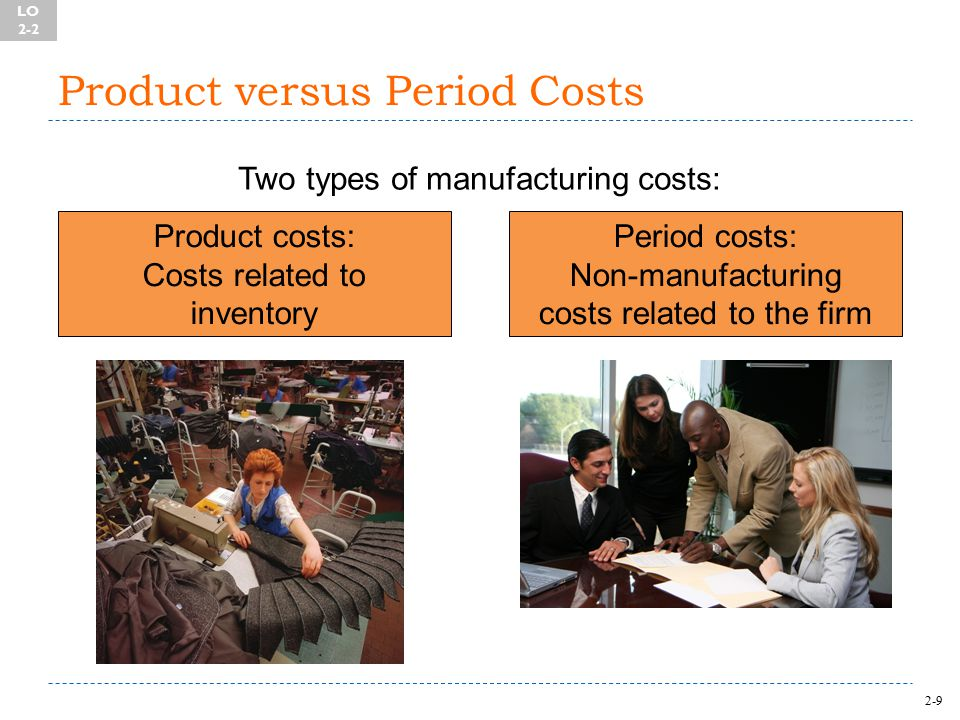 2-9 Product versus Period Costs Two types of manufacturing costs: Product costs: Costs related to inventory Period costs: Non-manufacturing costs related to the firm LO 2-2
