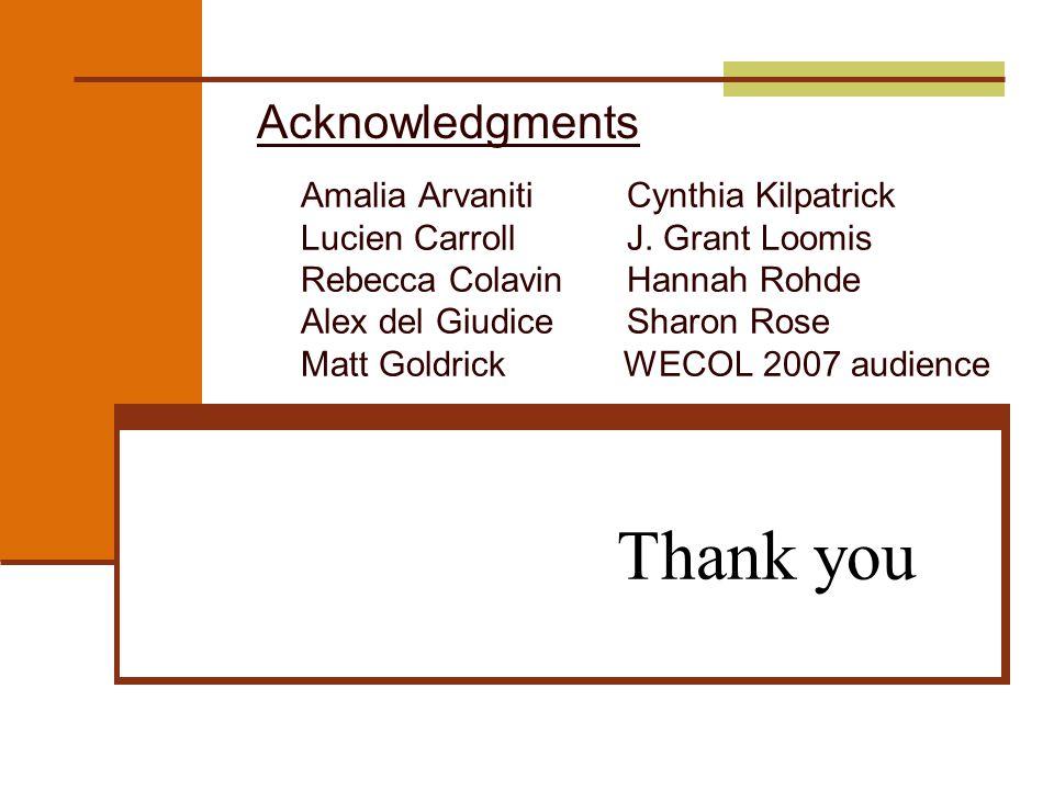 Thank you Amalia Arvaniti Cynthia Kilpatrick Lucien Carroll J. Grant Loomis Rebecca Colavin Hannah Rohde Alex del Giudice Sharon Rose Matt Goldrick WE