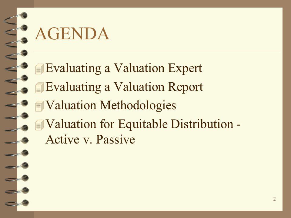 2 AGENDA 4 Evaluating a Valuation Expert 4 Evaluating a Valuation Report 4 Valuation Methodologies 4 Valuation for Equitable Distribution - Active v.
