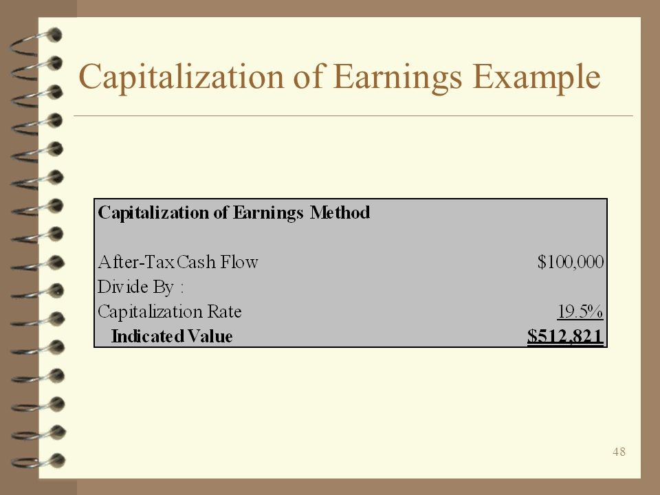 48 Capitalization of Earnings Example