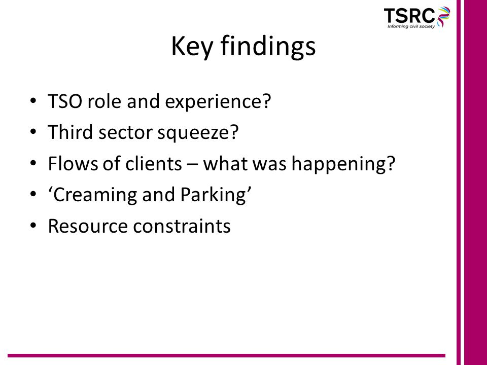 Key findings TSO role and experience. Third sector squeeze.