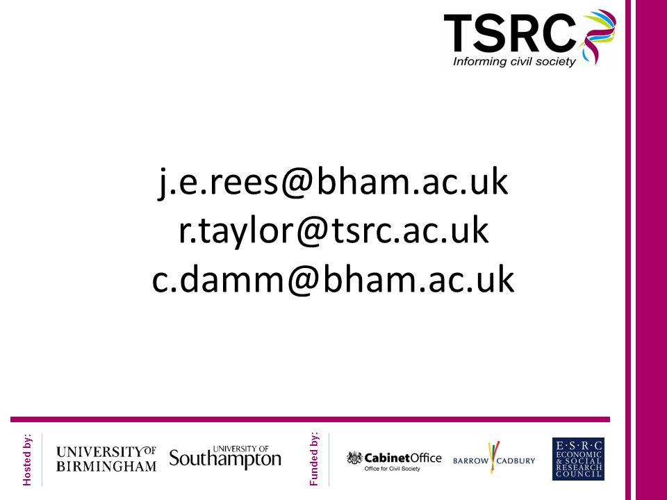 Hosted by: Funded by: j.e.rees@bham.ac.uk r.taylor@tsrc.ac.uk c.damm@bham.ac.uk