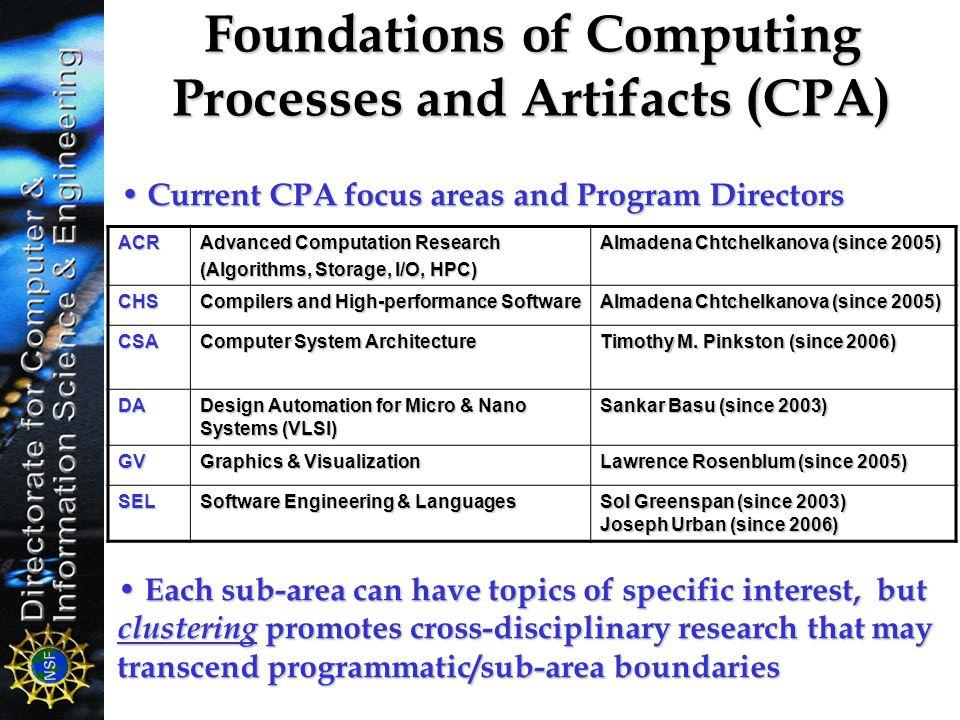 ACR Advanced Computation Research (Algorithms, Storage, I/O, HPC) Almadena Chtchelkanova (since 2005) CHS Compilers and High-performance Software Alma