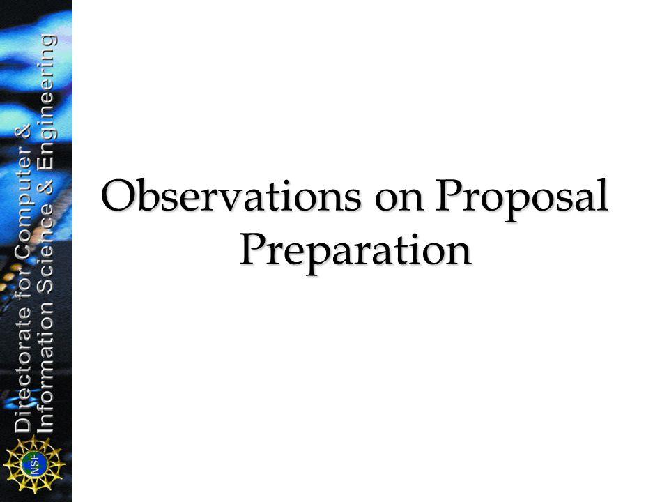 Observations on Proposal Preparation