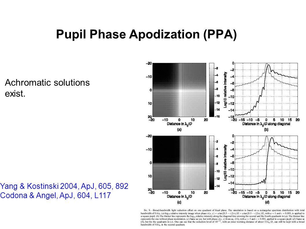 Pupil Phase Apodization (PPA) Yang & Kostinski 2004, ApJ, 605, 892 Codona & Angel, ApJ, 604, L117 Achromatic solutions exist.