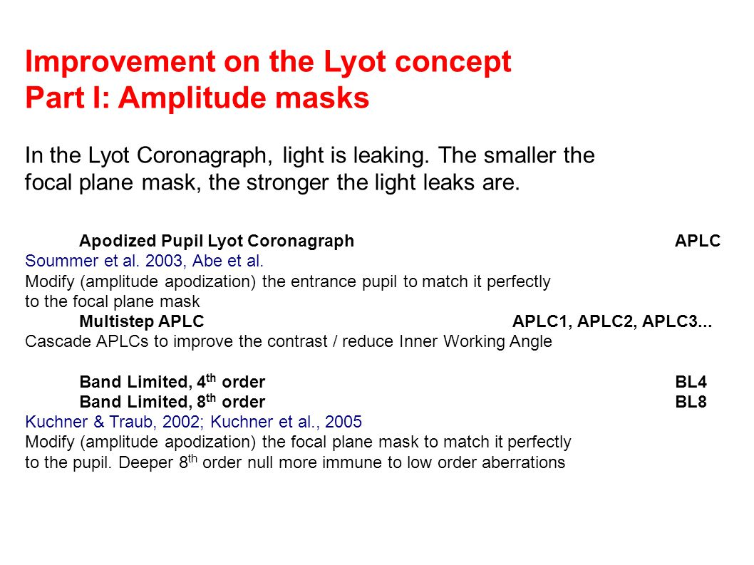 Improvement on the Lyot concept Part I: Amplitude masks In the Lyot Coronagraph, light is leaking.