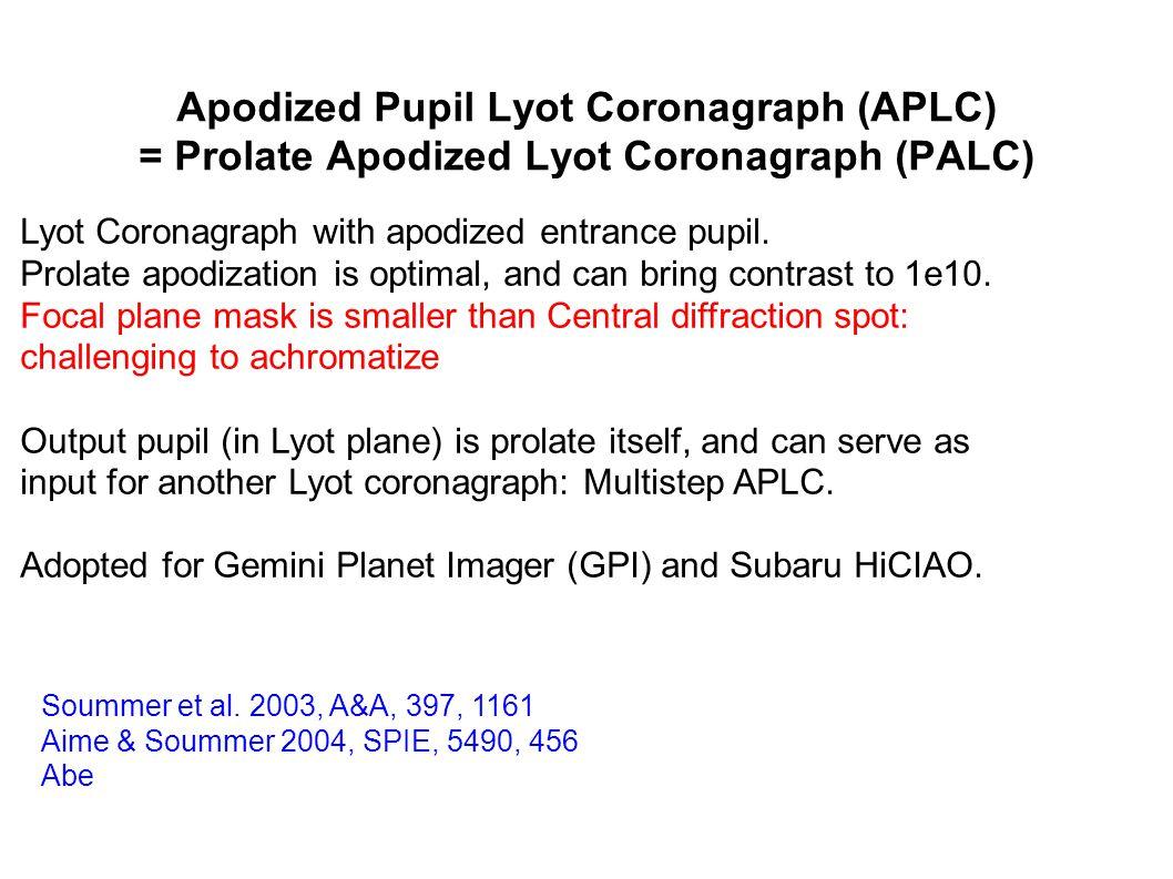Apodized Pupil Lyot Coronagraph (APLC) = Prolate Apodized Lyot Coronagraph (PALC) Soummer et al.