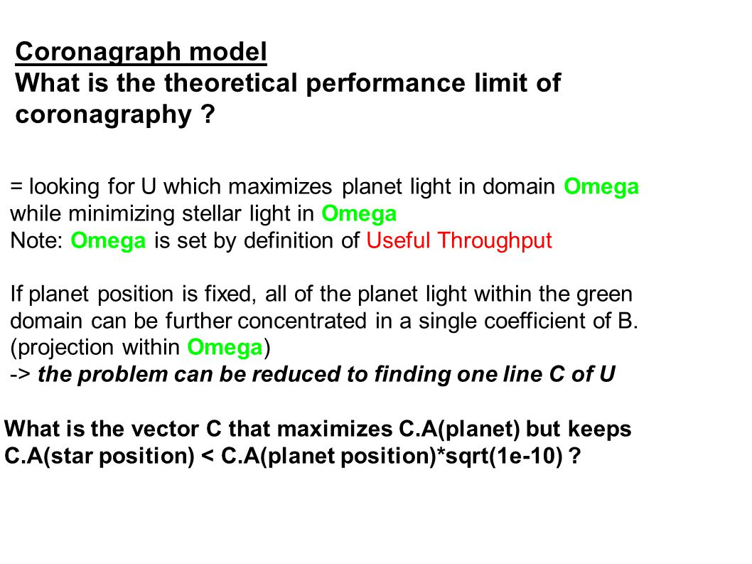 Coronagraph model What is the theoretical performance limit of coronagraphy .