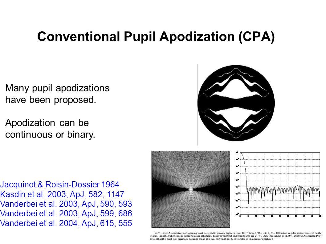 Conventional Pupil Apodization (CPA) Jacquinot & Roisin-Dossier 1964 Kasdin et al.