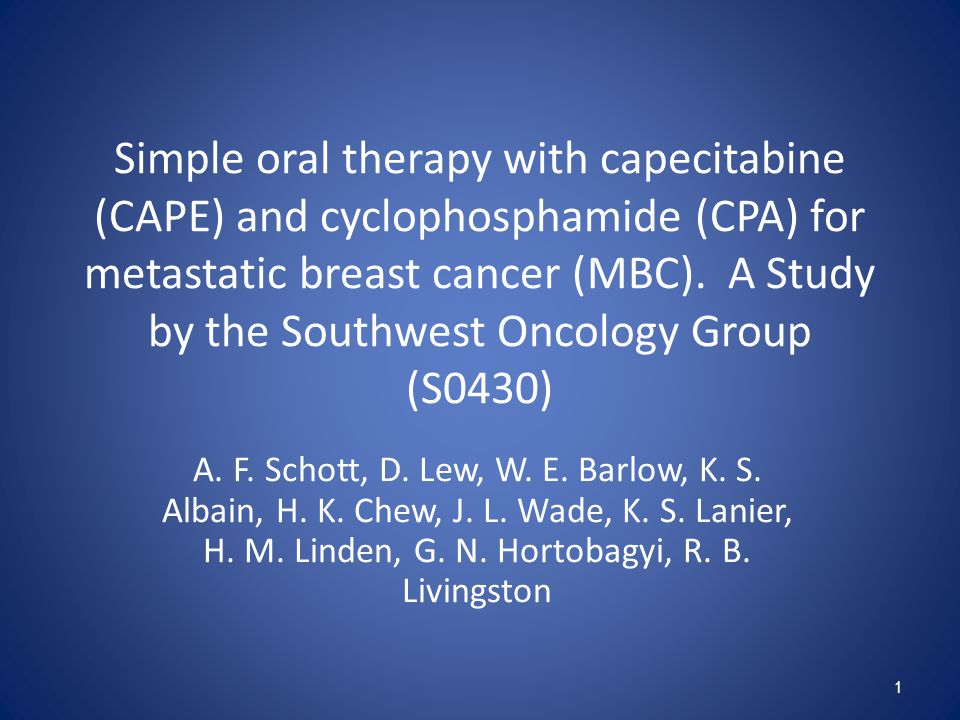 Simple oral therapy with capecitabine (CAPE) and cyclophosphamide (CPA) for metastatic breast cancer (MBC).