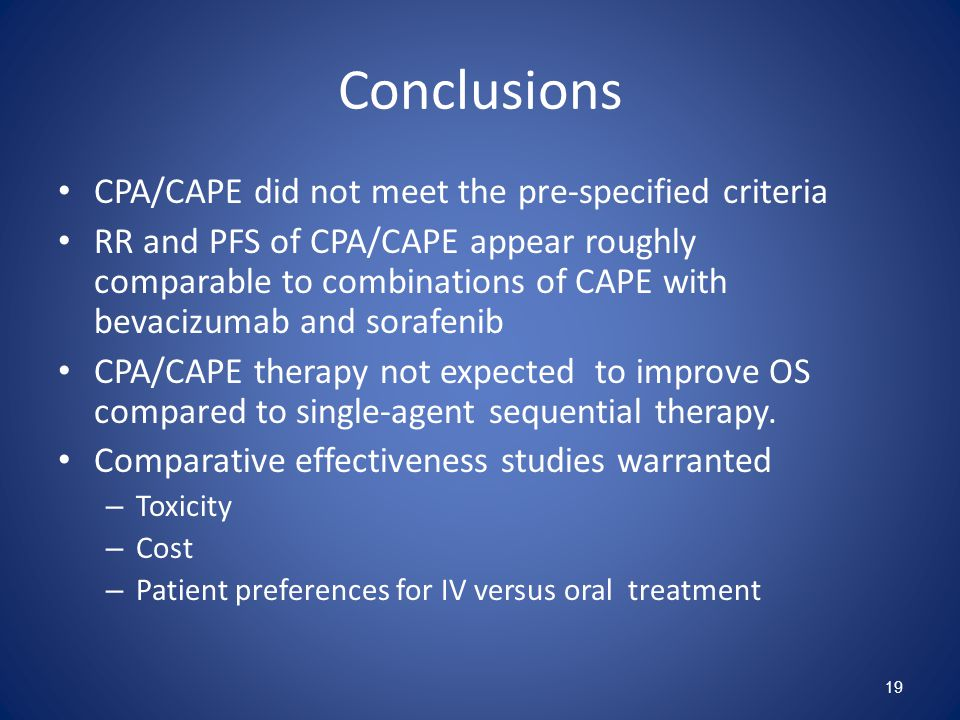 Conclusions CPA/CAPE did not meet the pre-specified criteria RR and PFS of CPA/CAPE appear roughly comparable to combinations of CAPE with bevacizumab and sorafenib CPA/CAPE therapy not expected to improve OS compared to single-agent sequential therapy.