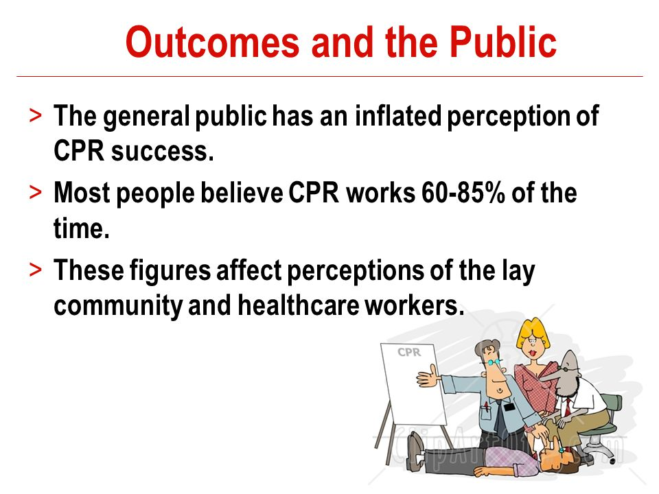 Outcomes and the Public > The general public has an inflated perception of CPR success. > Most people believe CPR works 60-85% of the time. > These fi