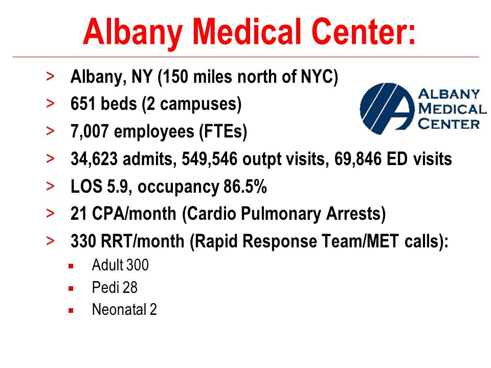 Albany Medical Center: > Albany, NY (150 miles north of NYC) > 651 beds (2 campuses) > 7,007 employees (FTEs) > 34,623 admits, 549,546 outpt visits, 6