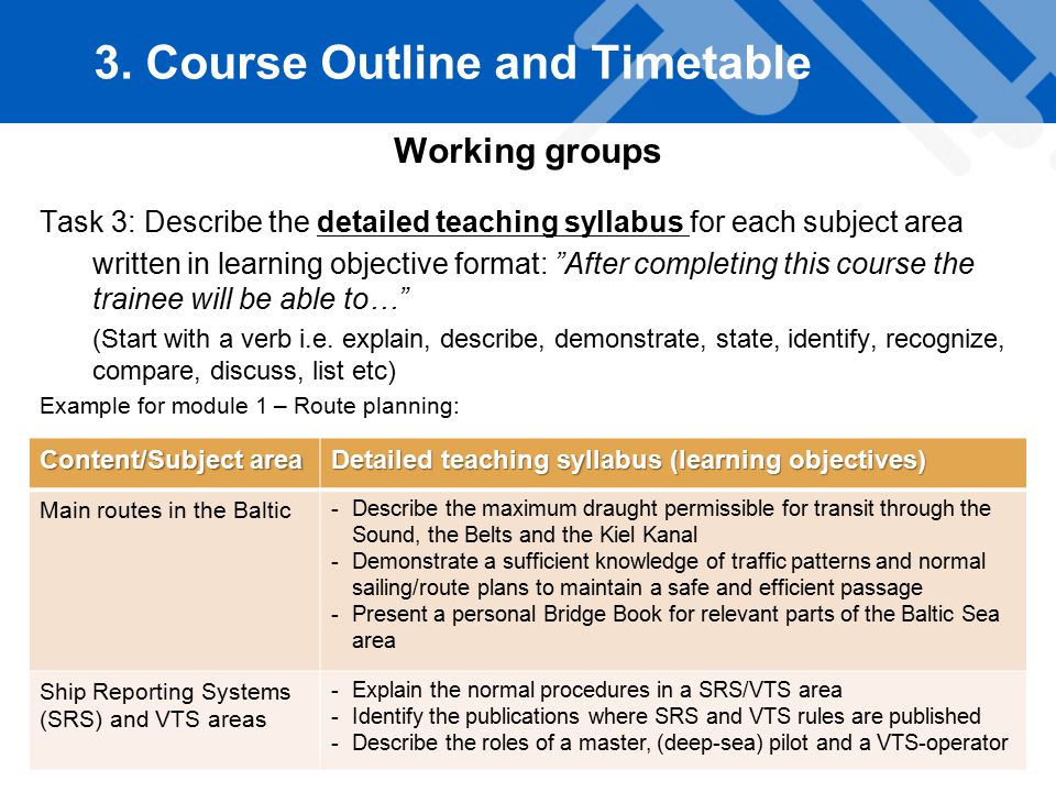 Working groups Task 3: Describe the detailed teaching syllabus for each subject area written in learning objective format: After completing this course the trainee will be able to… (Start with a verb i.e.