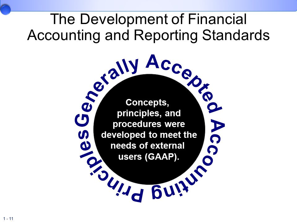 1 - 11 The Development of Financial Accounting and Reporting Standards Concepts, principles, and procedures were developed to meet the needs of external users (GAAP).
