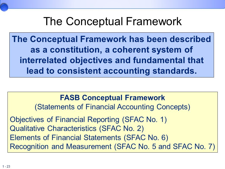 1 - 23 The Conceptual Framework The Conceptual Framework has been described as a constitution, a coherent system of interrelated objectives and fundamental that lead to consistent accounting standards.
