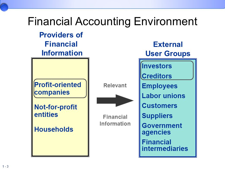 1 - 3 Financial Accounting Environment Profit-oriented companies Not-for-profit entities Households Providers of Financial Information External User Groups Investors Creditors Employees Labor unions Customers Suppliers Government agencies Financial intermediaries Relevant Financial Information