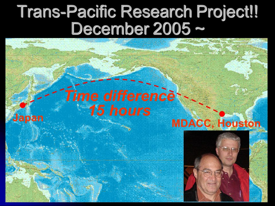 Trans-Pacific Research Project!! December 2005 ~ MDACC, Houston Japan Time difference 15 hours