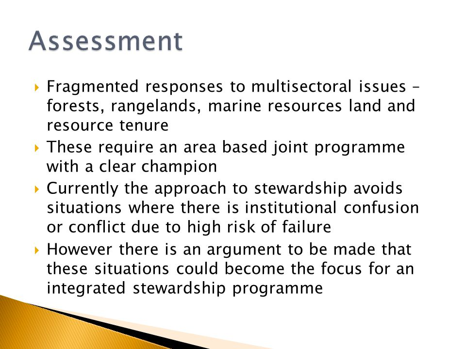  Fragmented responses to multisectoral issues – forests, rangelands, marine resources land and resource tenure  These require an area based joint programme with a clear champion  Currently the approach to stewardship avoids situations where there is institutional confusion or conflict due to high risk of failure  However there is an argument to be made that these situations could become the focus for an integrated stewardship programme