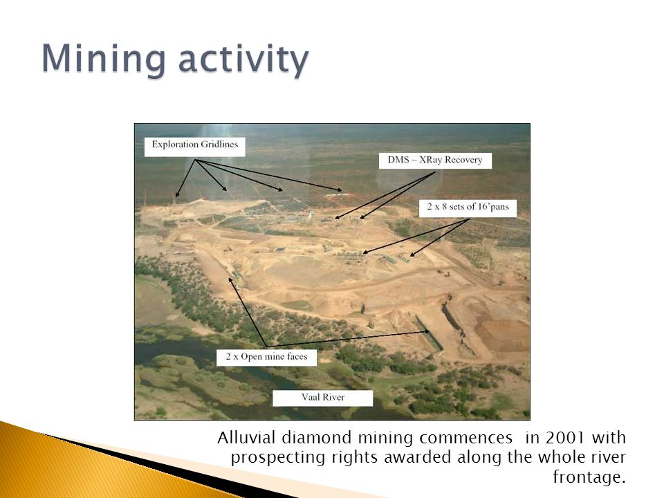Alluvial diamond mining commences in 2001 with prospecting rights awarded along the whole river frontage.