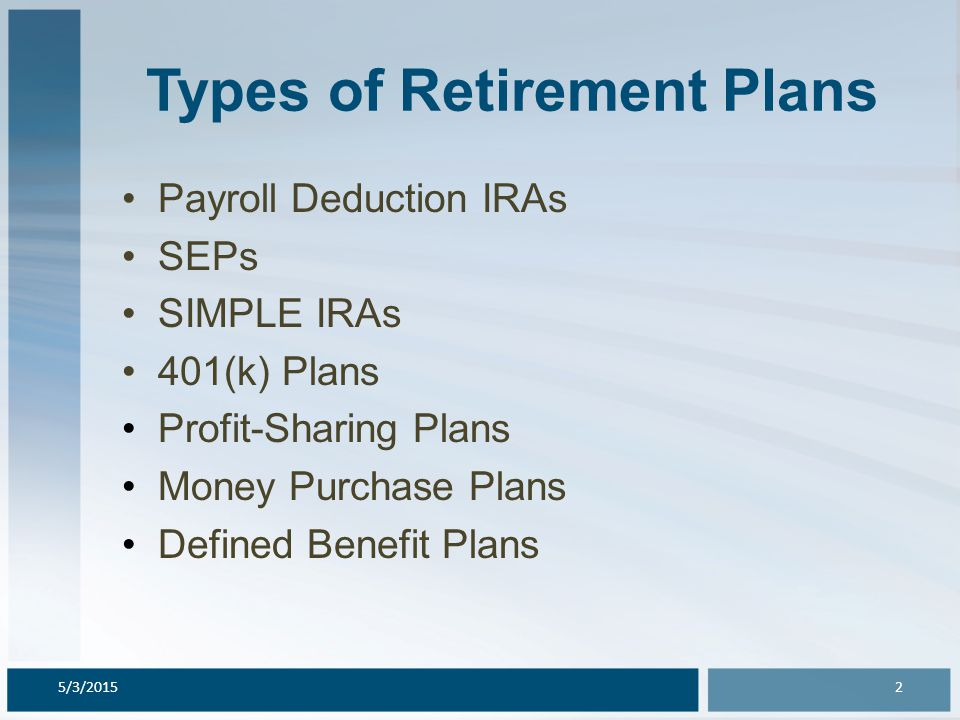 Types of Retirement Plans Payroll Deduction IRAs SEPs SIMPLE IRAs 401(k) Plans Profit-Sharing Plans Money Purchase Plans Defined Benefit Plans 5/3/201
