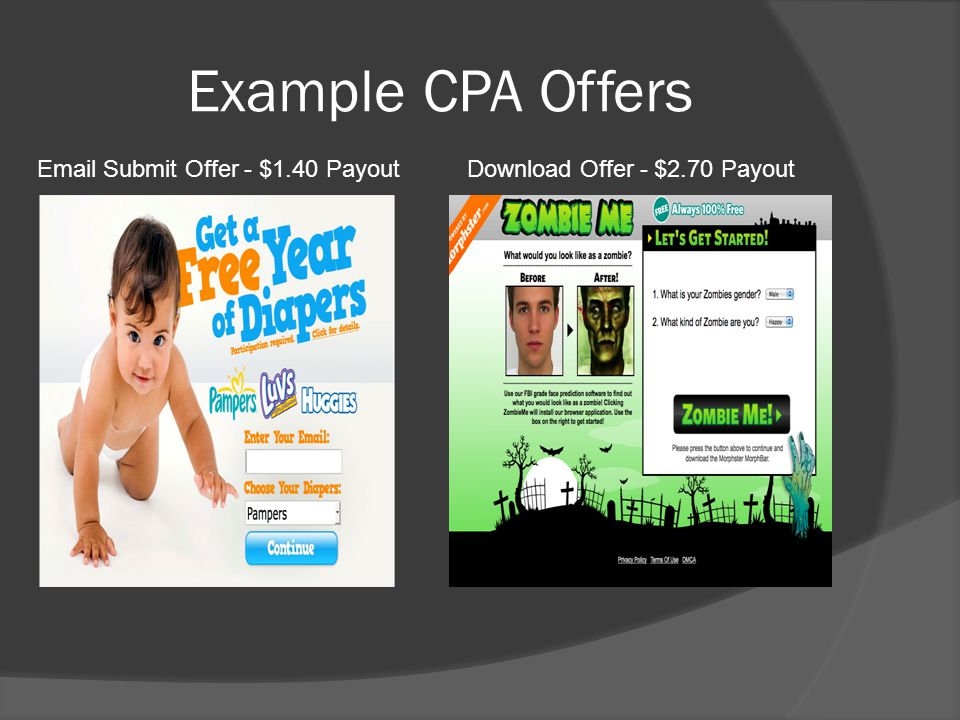 Example CPA Offers Email Submit Offer - $1.40 Payout Download Offer - $2.70 Payout