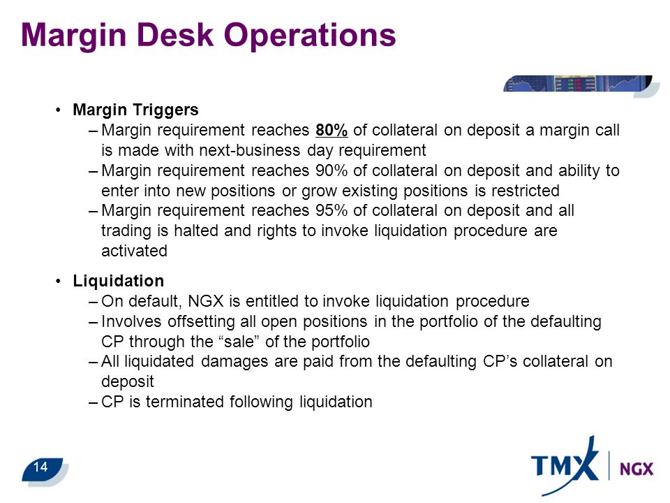 14 Margin Desk Operations Margin Triggers –Margin requirement reaches 80% of collateral on deposit a margin call is made with next-business day requir