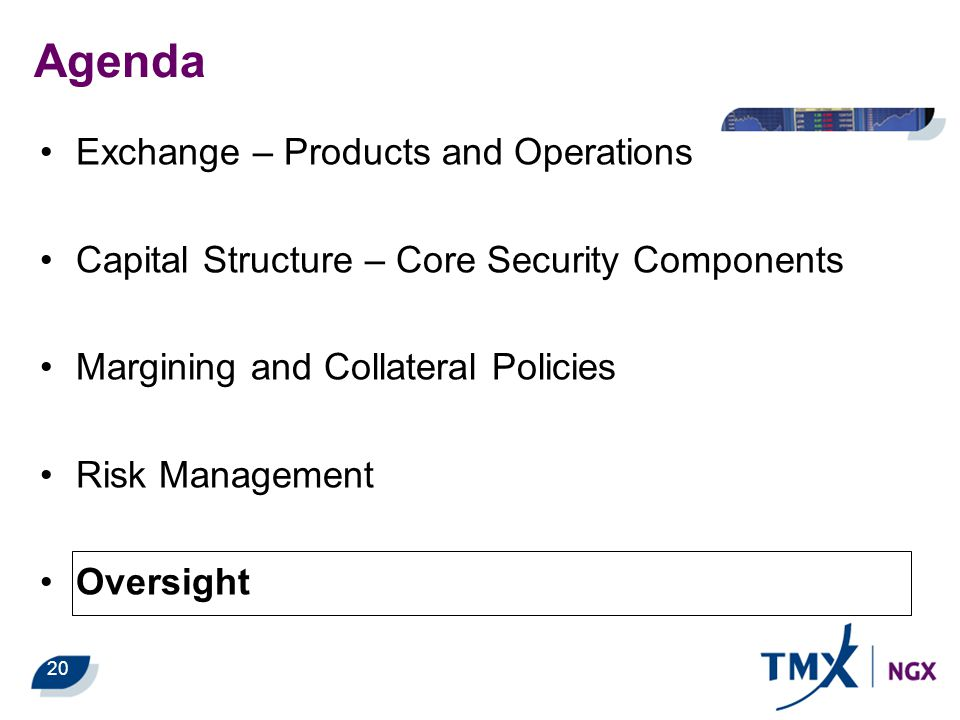 Exchange – Products and Operations Capital Structure – Core Security Components Margining and Collateral Policies Risk Management Oversight 20 Agenda