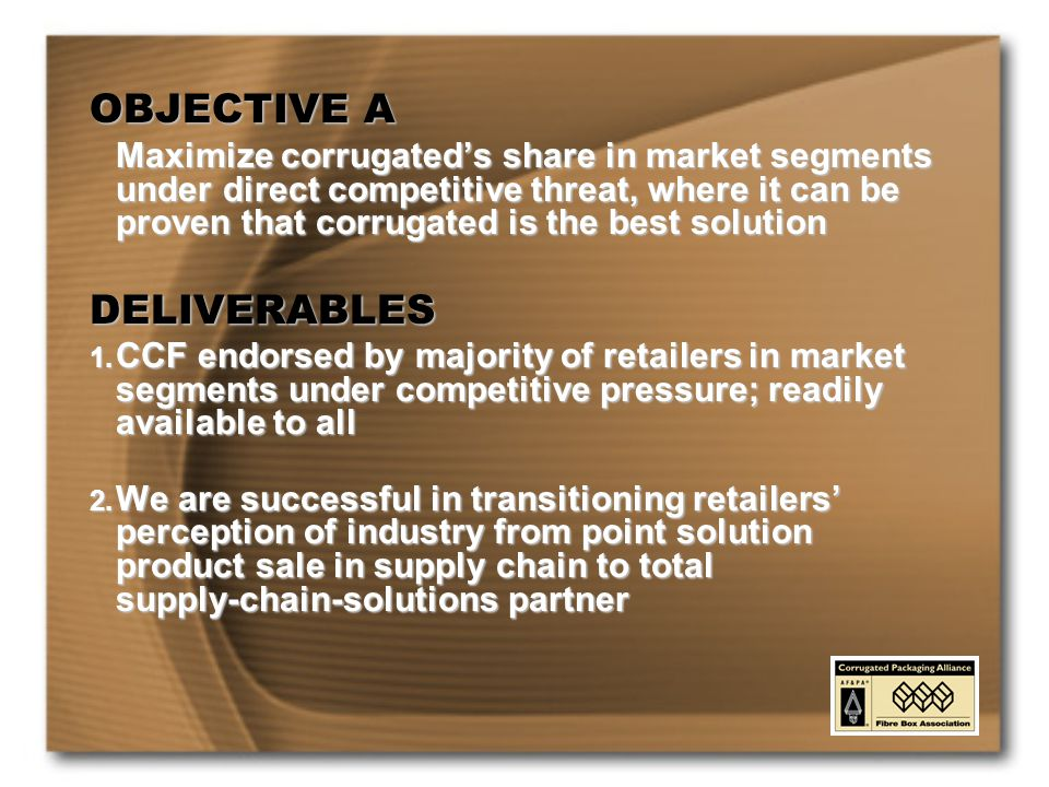 OBJECTIVE A Maximize corrugated's share in market segments under direct competitive threat, where it can be proven that corrugated is the best solution DELIVERABLES 1.