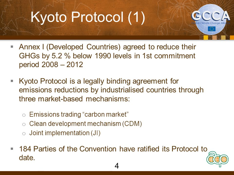 KYOTO Protocol CDM mechanism  Annex 1 countries invest in GHG reduction projects in non-Annex 1 countries and receive Certified Emission Reductions (CERs) to fulfil their binding commitments.
