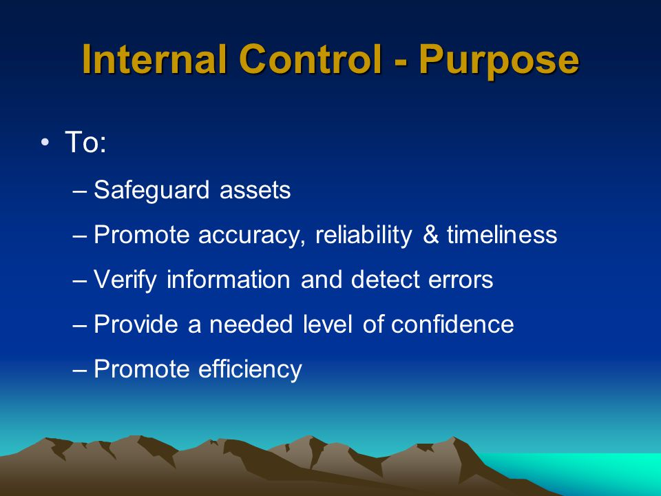 Internal Control - Purpose To: –Safeguard assets –Promote accuracy, reliability & timeliness –Verify information and detect errors –Provide a needed level of confidence –Promote efficiency