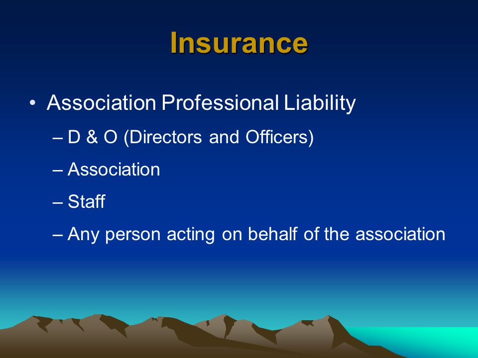 Insurance Association Professional Liability –D & O (Directors and Officers) –Association –Staff –Any person acting on behalf of the association