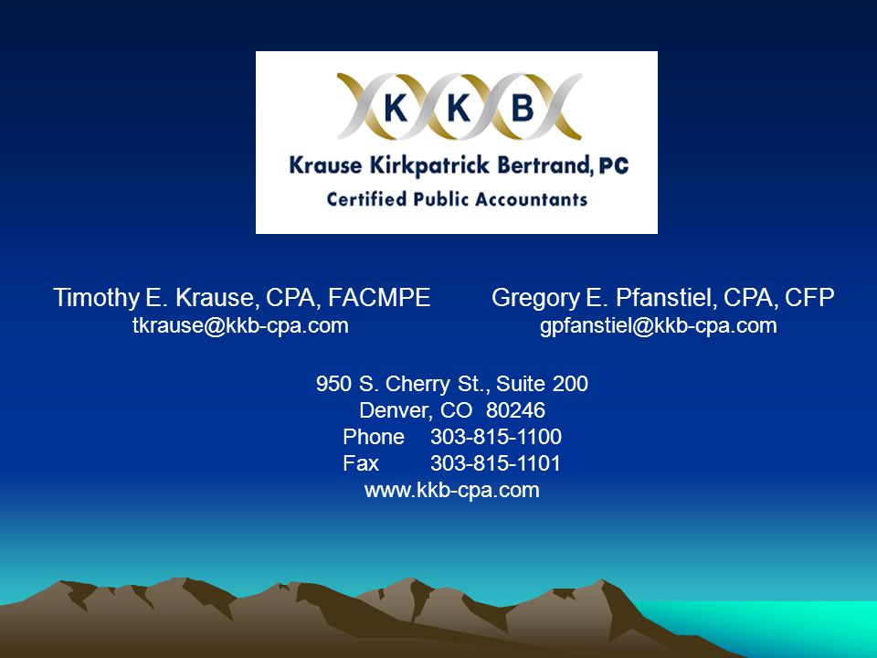 Timothy E. Krause, CPA, FACMPEGregory E.