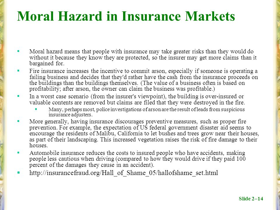 Slide 2–14 Moral Hazard in Insurance Markets  Moral hazard means that people with insurance may take greater risks than they would do without it beca