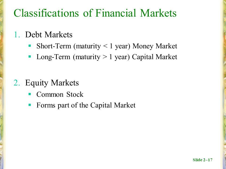 Slide 2–17 Classifications of Financial Markets 1.Debt Markets  Short-Term (maturity < 1 year) Money Market  Long-Term (maturity > 1 year) Capital M