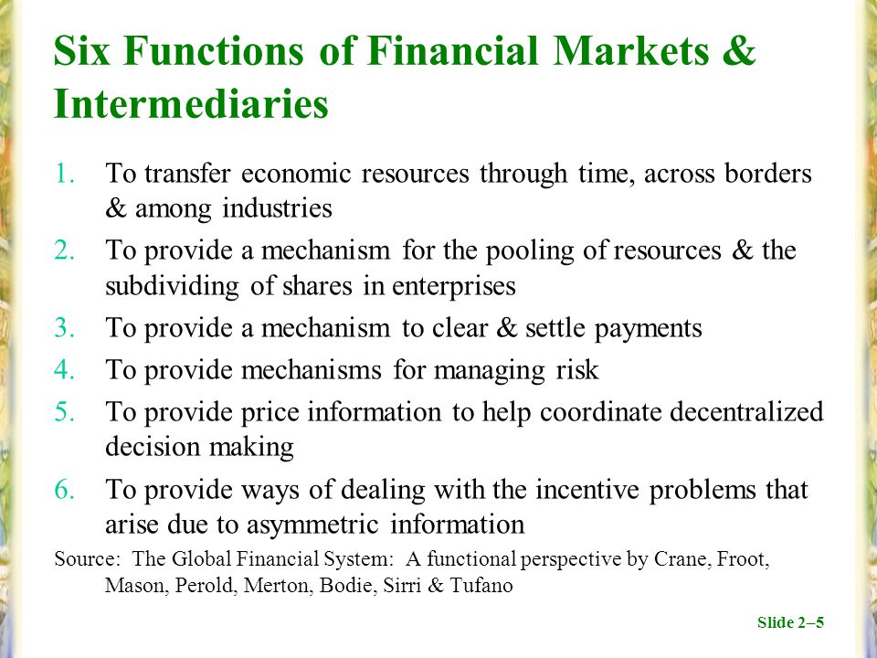 Slide 2–5 Six Functions of Financial Markets & Intermediaries 1.To transfer economic resources through time, across borders & among industries 2.To provide a mechanism for the pooling of resources & the subdividing of shares in enterprises 3.To provide a mechanism to clear & settle payments 4.To provide mechanisms for managing risk 5.To provide price information to help coordinate decentralized decision making 6.To provide ways of dealing with the incentive problems that arise due to asymmetric information Source: The Global Financial System: A functional perspective by Crane, Froot, Mason, Perold, Merton, Bodie, Sirri & Tufano