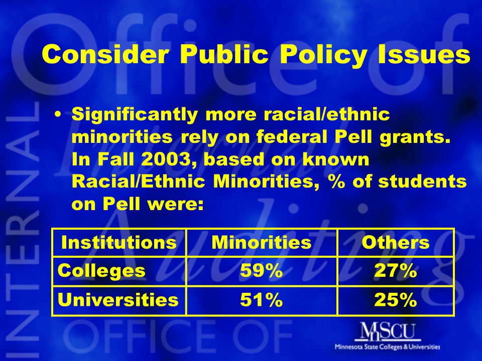 Consider Public Policy Issues Significantly more racial/ethnic minorities rely on federal Pell grants.