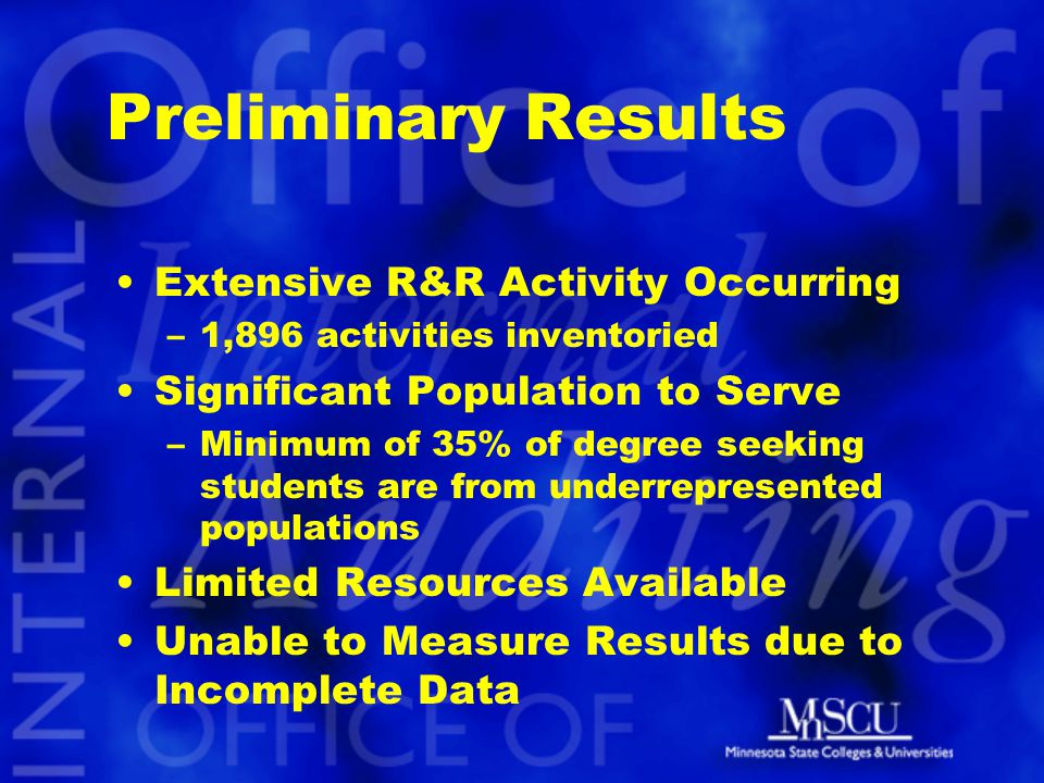 Preliminary Results Extensive R&R Activity Occurring –1,896 activities inventoried Significant Population to Serve –Minimum of 35% of degree seeking s
