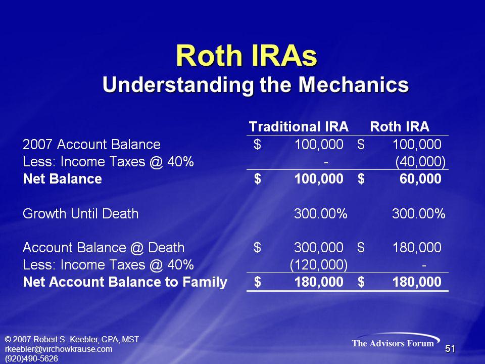 © 2007 Robert S. Keebler, CPA, MST rkeebler@virchowkrause.com (920)490-5626 51 Roth IRAs Understanding the Mechanics