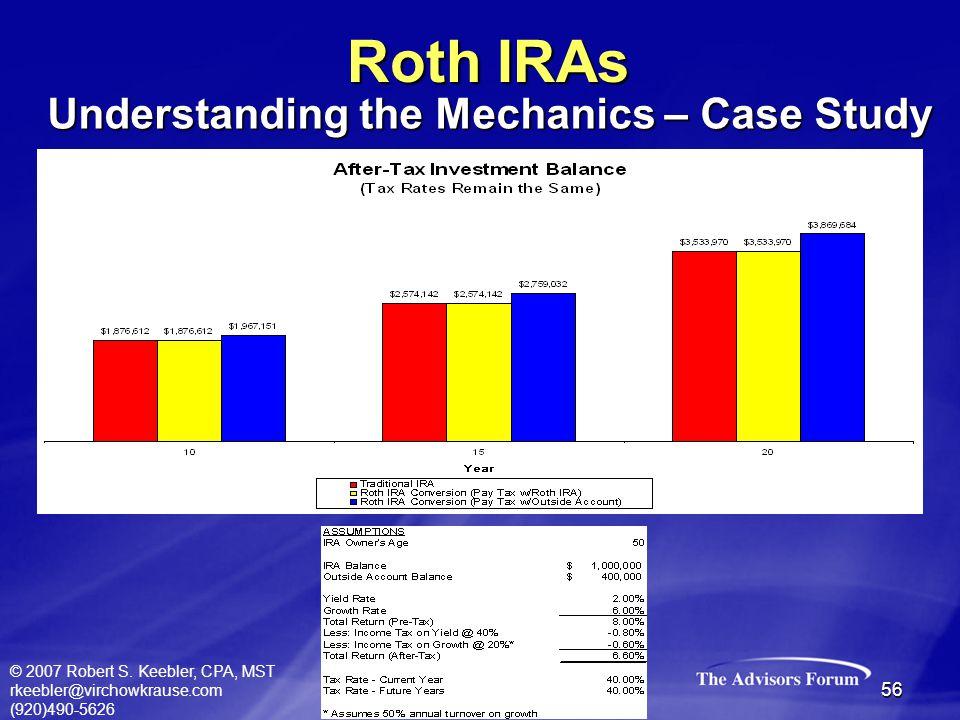 © 2007 Robert S. Keebler, CPA, MST rkeebler@virchowkrause.com (920)490-5626 56 Roth IRAs Understanding the Mechanics – Case Study
