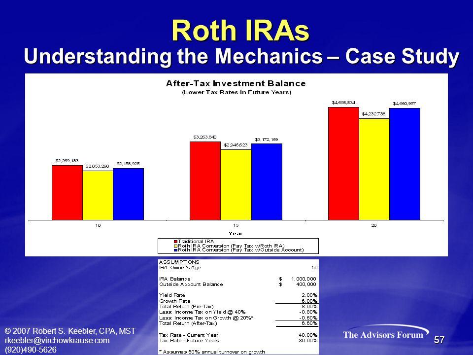 © 2007 Robert S. Keebler, CPA, MST rkeebler@virchowkrause.com (920)490-5626 57 Roth IRAs Understanding the Mechanics – Case Study