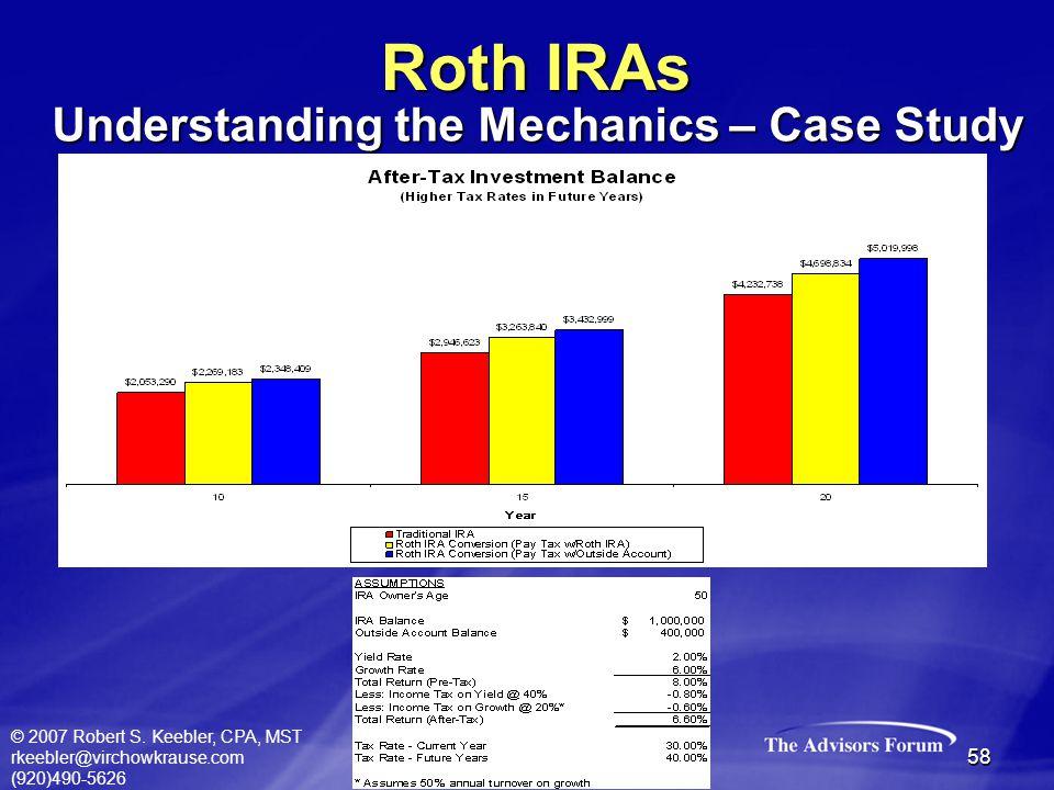 © 2007 Robert S. Keebler, CPA, MST rkeebler@virchowkrause.com (920)490-5626 58 Roth IRAs Understanding the Mechanics – Case Study