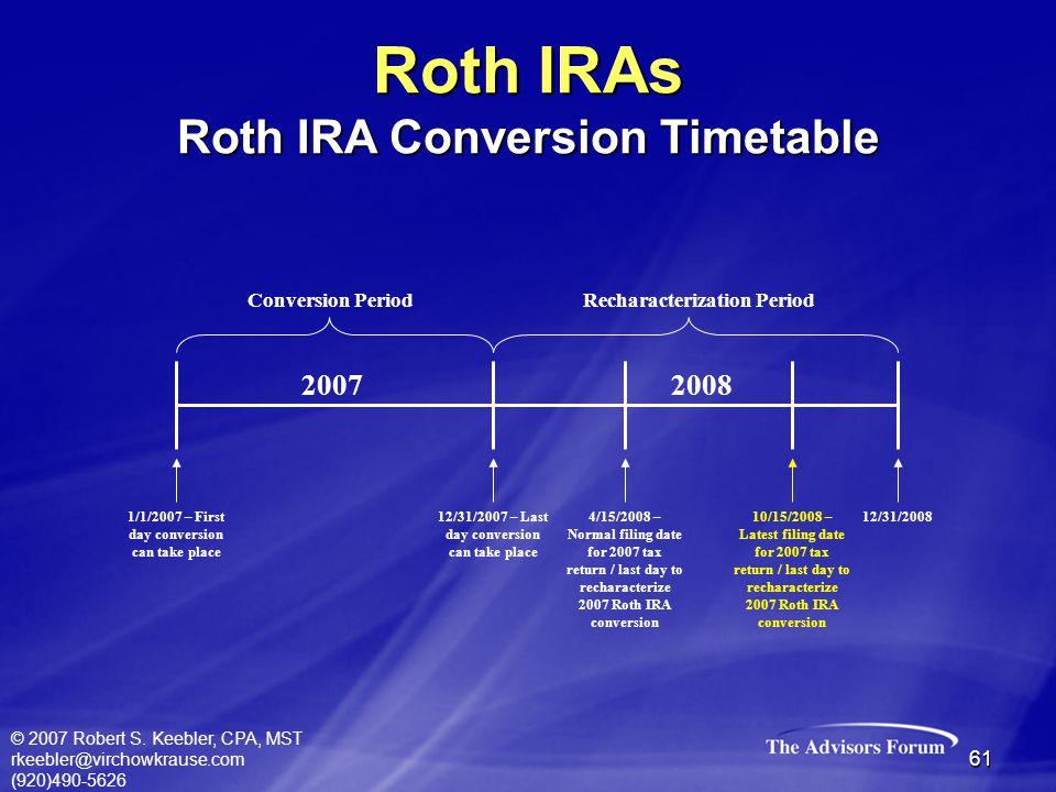 © 2007 Robert S. Keebler, CPA, MST rkeebler@virchowkrause.com (920)490-5626 61 Conversion PeriodRecharacterization Period 1/1/2007 – First day convers