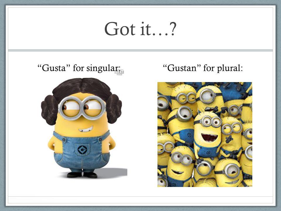 Got it…? Gusta for singular: Gustan for plural: